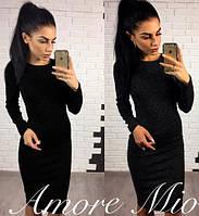 Женское платье миди из ангоры длинный рукав однотонное черное