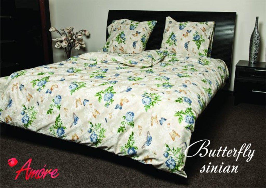 Полуторный комплект постельного белья 150х220 из бязи Голд Бабочка blue