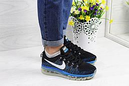 Повсякденні жіночі кросівки Nike Air Max 2017 текстильні літні легкі зручні в стилі найк чорні з синім