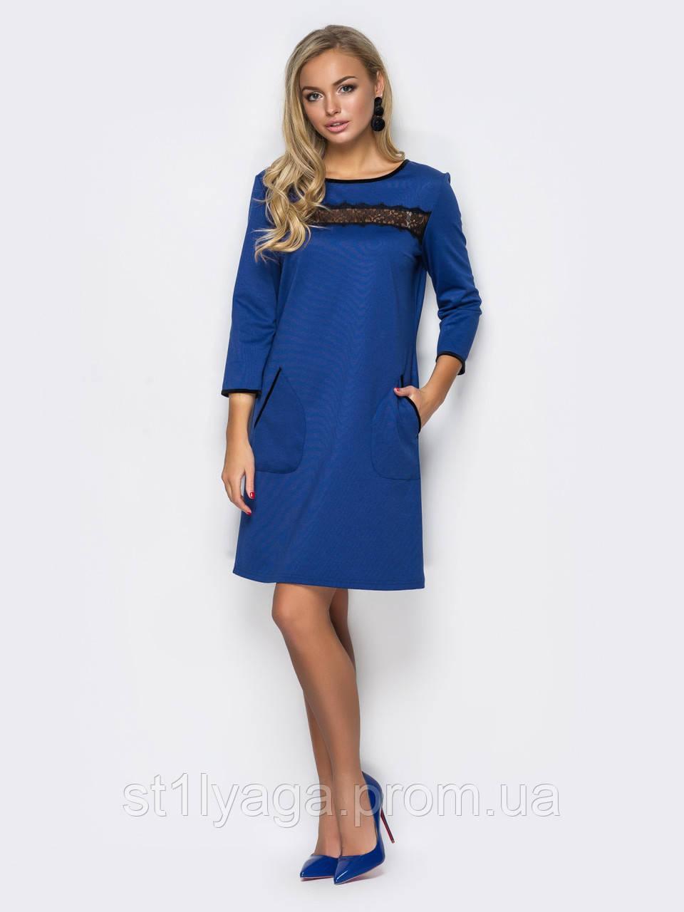 4a353ae10f5 Платье из джерси с накладными карманами и вставкой из кружева ...