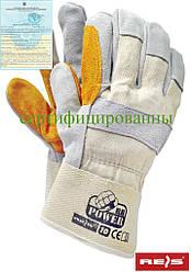 Перчатки рабочие усиленные яловой кожей (перчатки кожаные рабочие) RBPOWER_Y BEJSY