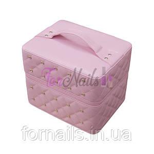 Бьюти кейс, 2 выдвижные полки, розовый