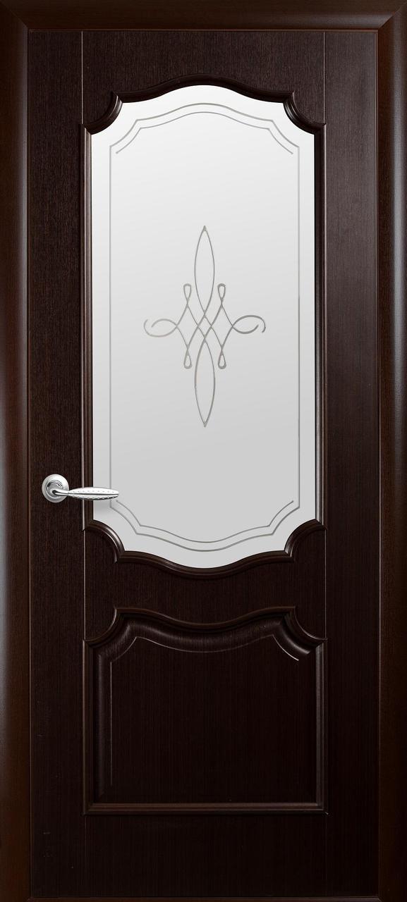 Дверное полотно Рока со стеклом сатин и рисунком (Венге new / ПВХ DeLuxe)