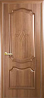 Дверное полотно Рока глухое с гравировкой (Золотая ольха / ПВХ DeLuxe)