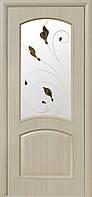 Дверное полотно Антре со стеклом сатин и рисунком (Ясень / ПВХ DeLuxe)