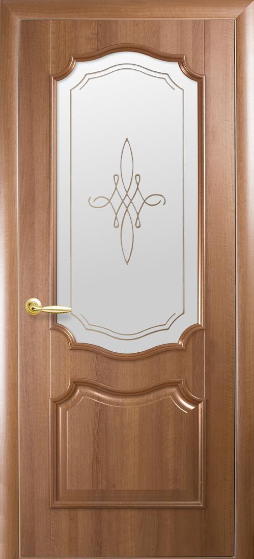 Дверное полотно Рока со стеклом сатин и рисунком (Золотая ольха / ПВХ DeLuxe)