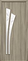 Дверное полотно Лилия со стеклом сатин и рисунком (Сандал / Экошпон)