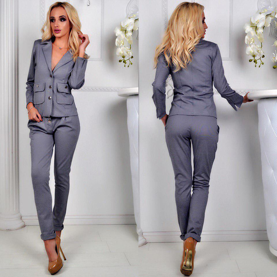 38f29831cd4 Женский стильный трикотажный костюм-двойка брюки и пиджак с накладными  карманами - Интернет-магазин