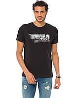 Черная мужская футболка LC Waikiki / ЛС Вайкики с надписью на груди, фото 1