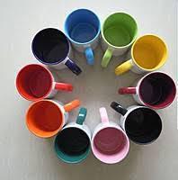 Чашка для сублимации цветные внутри с цветной ручкой 330мл