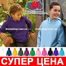 Детская толстовка на флисе и капюшоном Fruit of the loom Унисекс