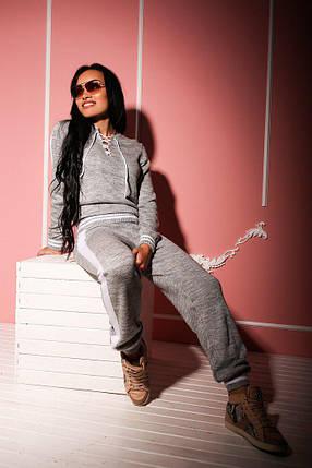 Женский теплый спортивный костюм мелкой машинной вязки с лампасами, фото 2