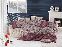 Комплект постельного белья nazenin сатин размер евро MARGARITA BORDO