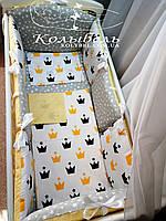 """Комплект в детскую кроватку """"Короны """". Бортик на 4 стороны и постельное"""