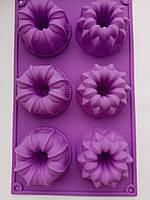 Силиконовая форма Ассорти для выпечки кекса 6 шт. на планшете, фото 1