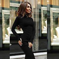 Женское платье миди из трикотажа длинный рукав с прорезью для пальца однотонное черное