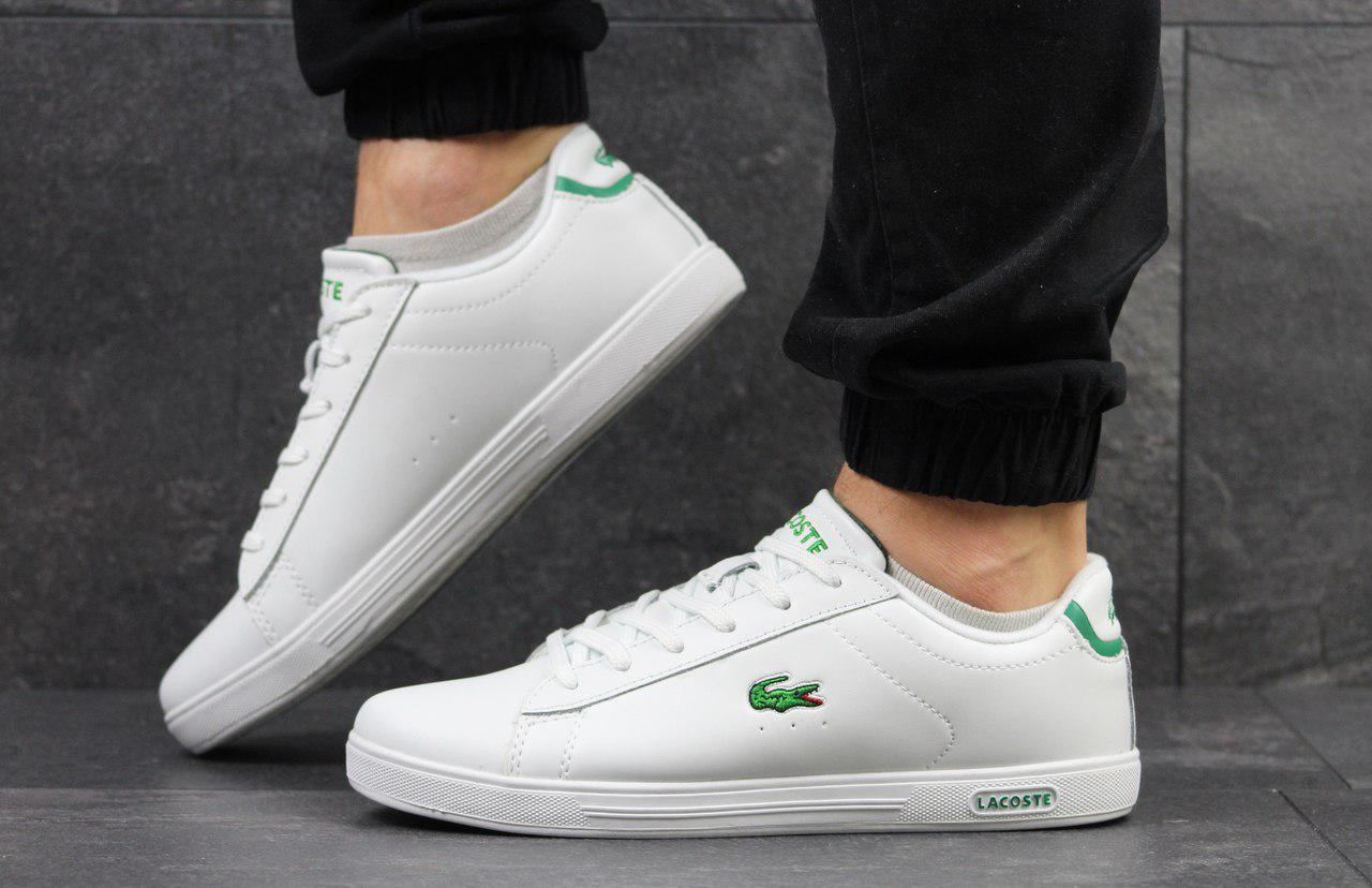Кеды мужские Lacoste (белые с зеленым), ТОП-реплика
