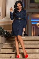 Классическое платье джинсовое с рукавом