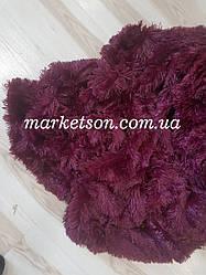 Одеяло покрывало травка с наполнителем холлофайбер меховое с длинным ворсом 210*230 Бордовое