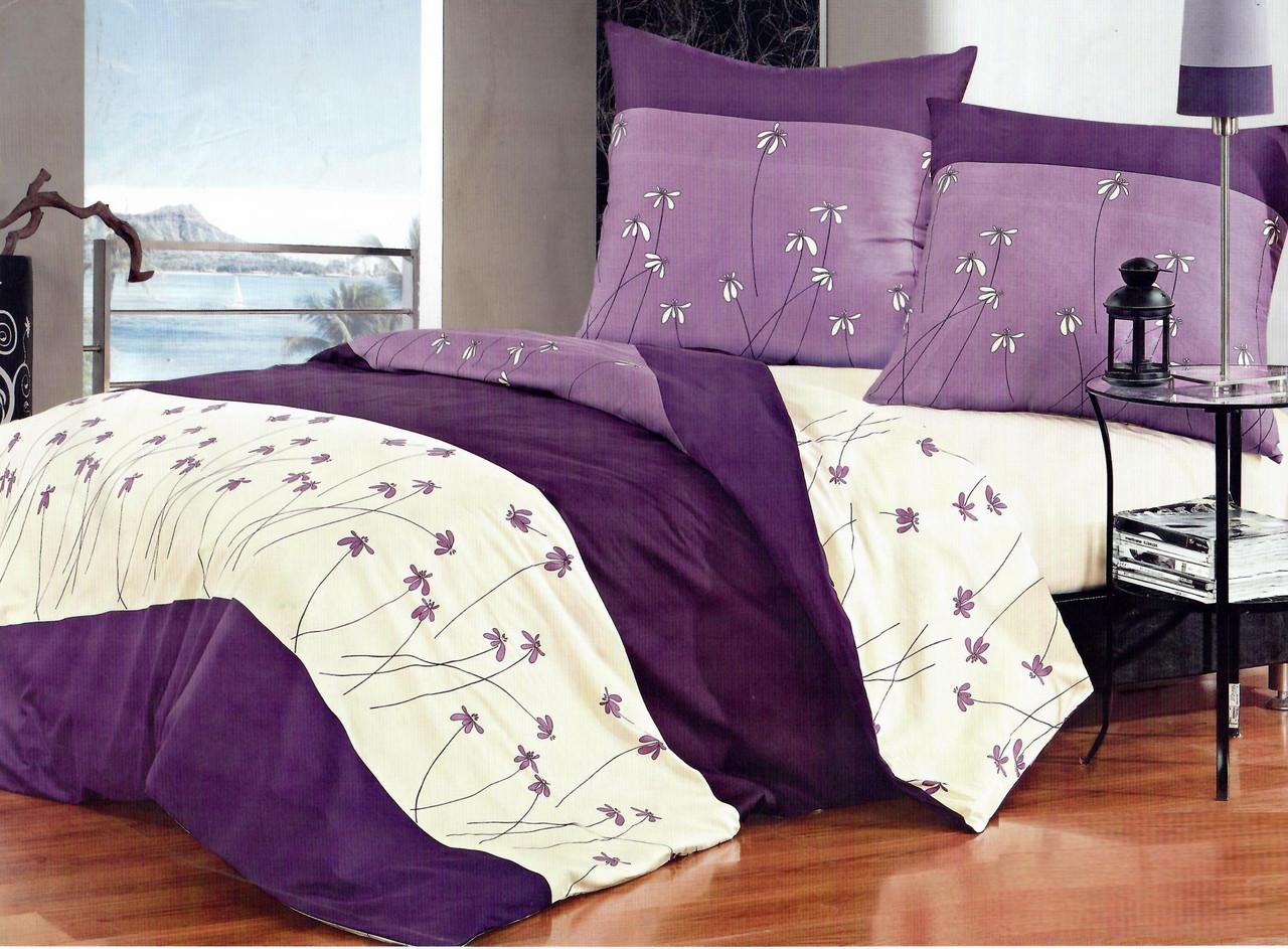 Евро комплект постельного белья 200*220 из бязи Голд Фиолетовые ромашки