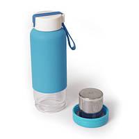 Бутылочка-заварник стеклянная с покрытием soft-touch и ситечком, фото 1