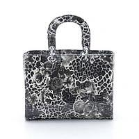 Женская сумка Dior леопард цветы ч/б