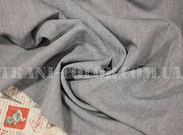 Костюмная ткань габардин лён светло-серый, фото 2