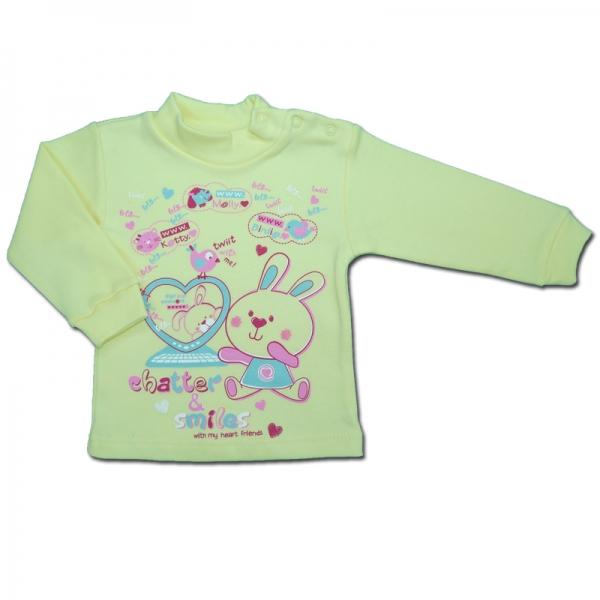 Гольф детский на кнопке из интерлок-начеса с рисунком 80/9-12 мес