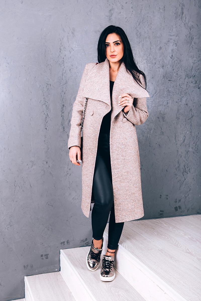 Пальто женское из шерсти вареной O.Z.Z.E Д 346 бежевый