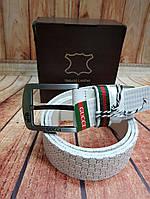 Ремень кожаный бренд Гуччи белый (реплика)