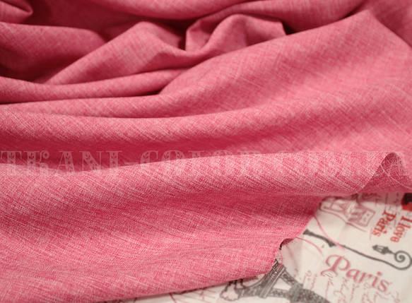 Костюмная ткань габардин лён малиновый, фото 2