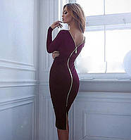Платье на молнии Michell бордовое   (код 023)
