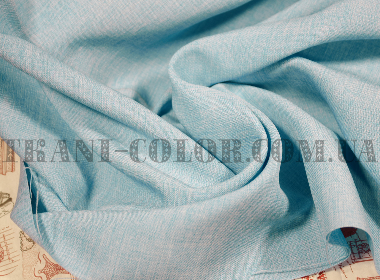 Костюмная ткань габардин лён голубой