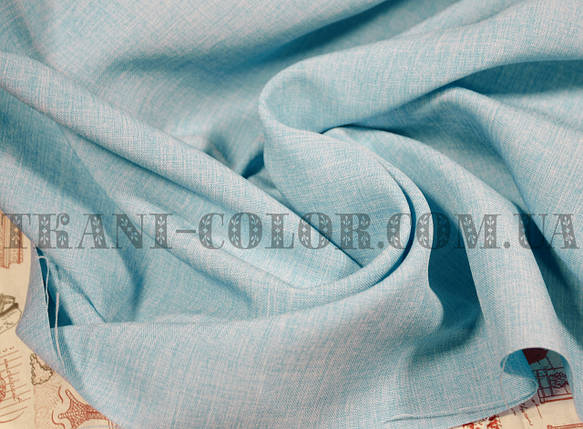 Костюмная ткань габардин лён голубой, фото 2