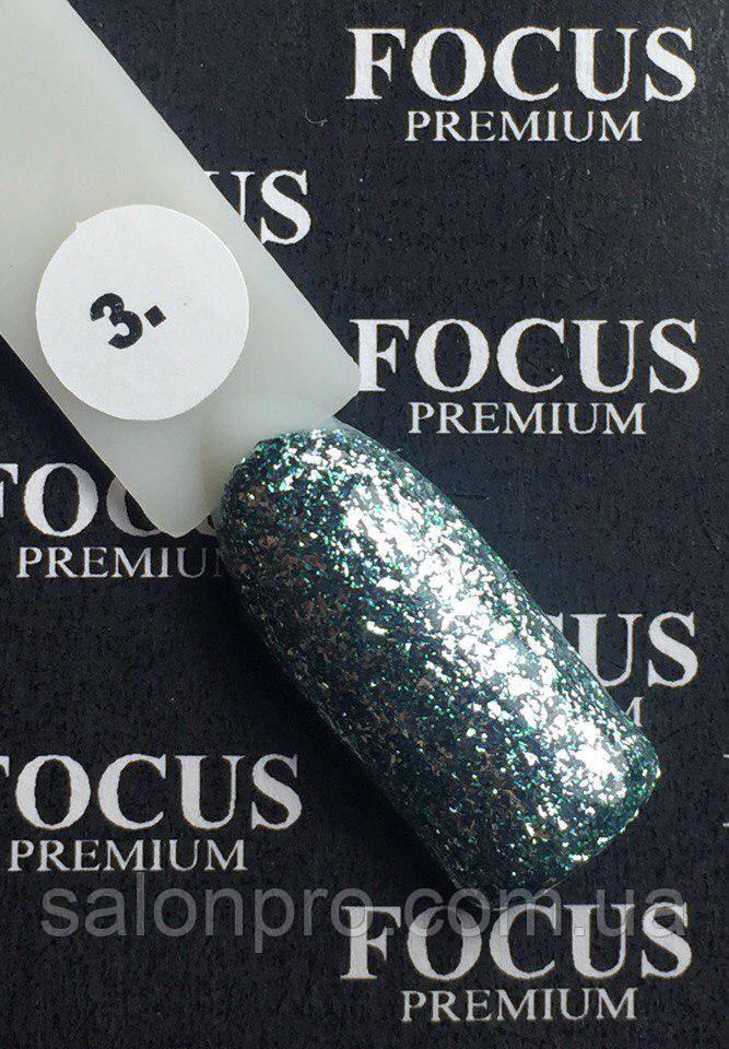 Гель-лак FOCUS Titan  №003 (светло-зеленый с блесточками, глиттер), 8 мл