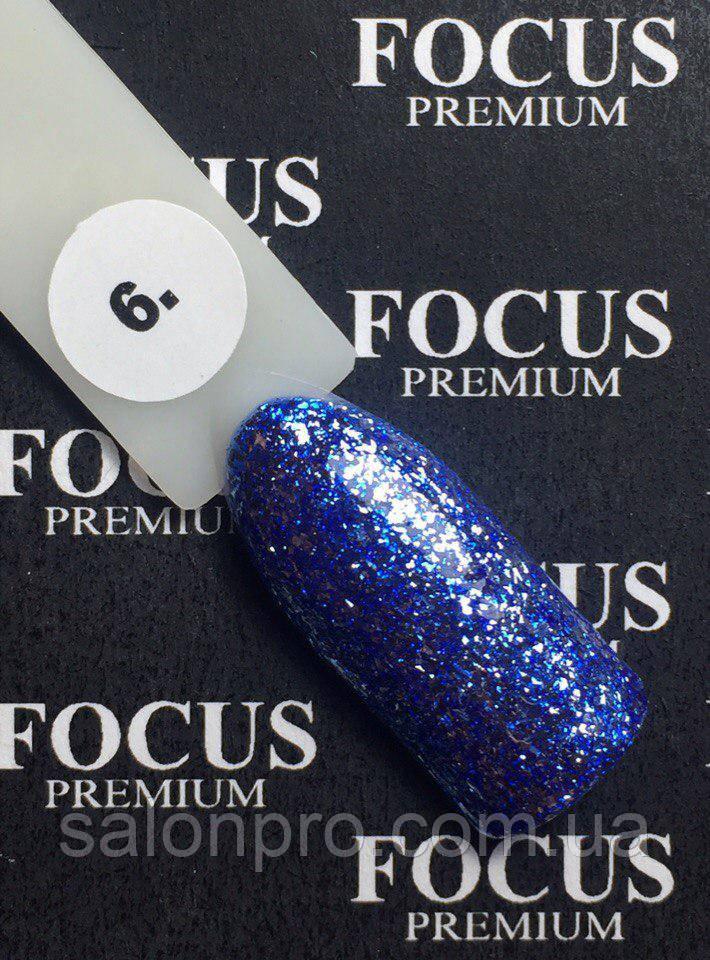 Гель-лак FOCUS Titan  №006 (синий с блесточками, глиттер), 8 мл