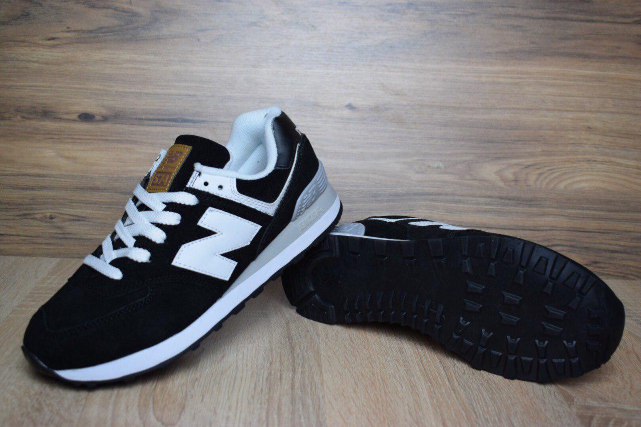 Мужские Кроссовки New Balance 574 черные с белым ( коричневый язык) 1388 b9a9352ee0c