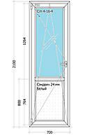 Дверь Одностворчатая. Одно камерный стекло пакет. Профиль Rehau Design 70
