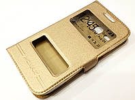 Чехол книжка с окошками для Samsung Galaxy Star Advance g350e gold
