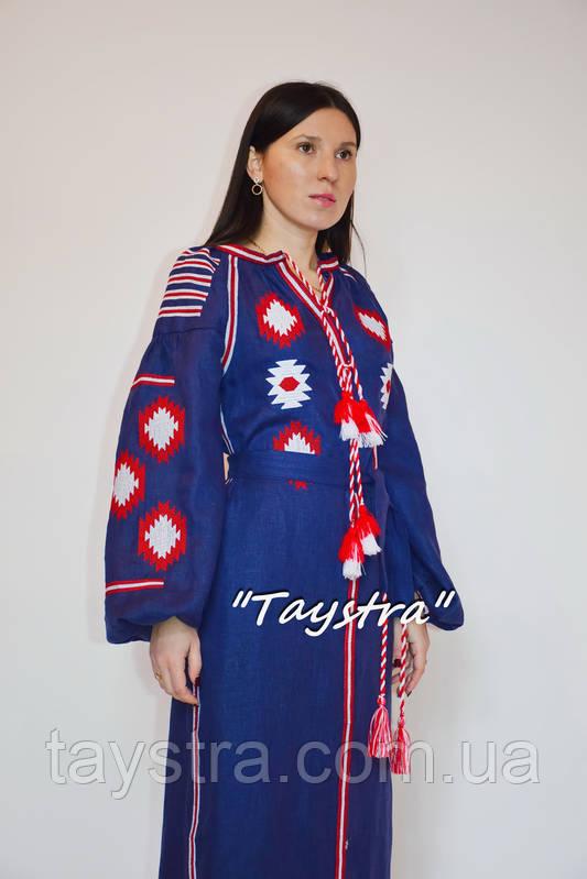 Вышиванка платье с вышивкой, украинская вышивка, синее платье вышитое бохо этно стиль