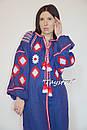 Вышиванка платье с вышивкой, украинская вышивка, синее платье вышитое бохо этно стиль , фото 7