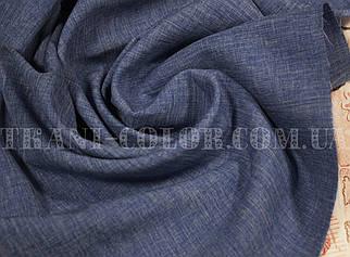 Костюмна тканина габардин льон синій