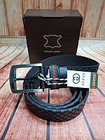 Ремень кожаный бренд Гуччи черный (реплика)