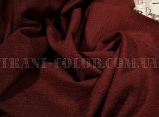 Костюмна тканина габардин льон бордовий