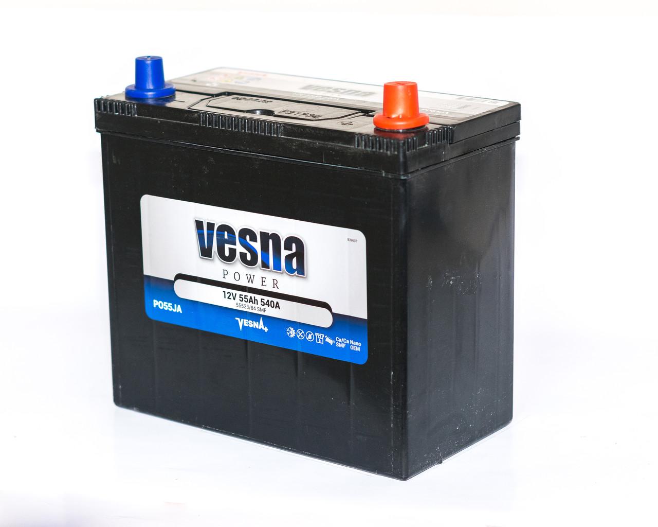 Аккумулятор автомобильный 6СТ-55Ah 540A VESNA Power PO55JA