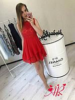 Платье (Фабричный Китай) Ткань гипюр. Юбка креп шифон сзади змейка. (15115) С-М