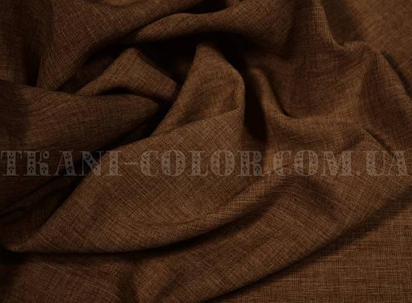 Костюмная ткань габардин лён шоколад, фото 2