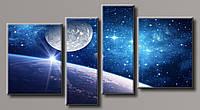 """Модульная картина на холсте из 4-х частей """"Космос"""""""