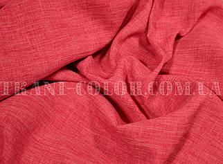 Костюмная ткань габардин лён ярко-коралловый