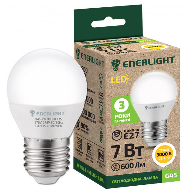 LED лампа Enerlight G45 7W 3000K E27